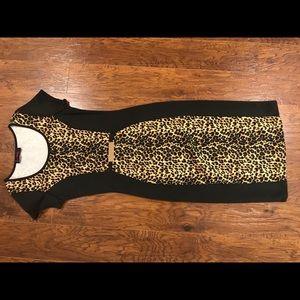 Annabelle sz S black cheetah print midi dress